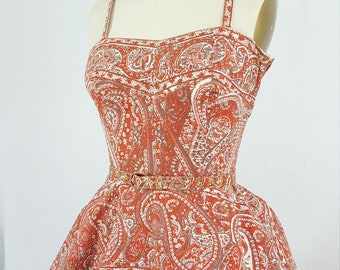 1950s dress / 50s Dress / Vintage orange 1950s paisley party dress with circle skirt