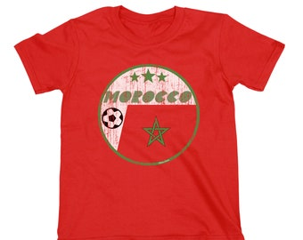 MOROCCO Boys or Girls T-Shirt FOOTBALL World Cup 2018 Kids Retro Circle Flag bbff4f6c3