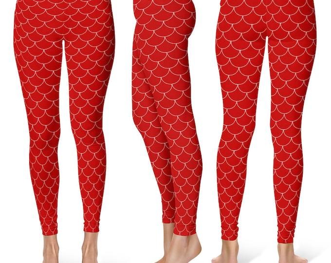 Mermaid Leggings Women, Red Leggings, Red Yoga Pants, Red Dragon Scales Leggings, Fish Scales Yoga Tights