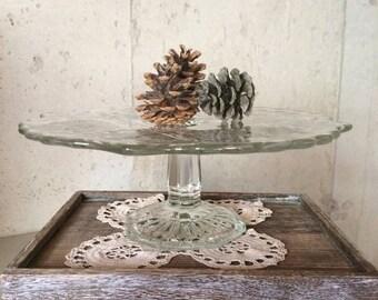 Save 30% Pressed Glass Cake Pedestal Dessert Stand, Clear Etched Glass Dessert Stand, Vintage Cake Pedestal, Cupcake Stand, Wedding Dessert