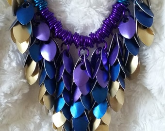 Scale Maille drop graduated necklace