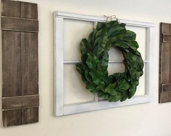 Farmhouse Decor, Shutter Wall Decor, Window Frame,  magnolia wreath