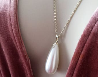 Drop Pearl Necklace, Drop Pearl Charm, White Pearl Necklace, Pearl Jewelry, White Pearl Pedant, Pearl Necklace, Wedding Necklace