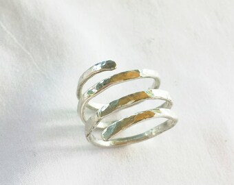 Liquid Sunshine Hammered Sterling Silver Wrap Ring