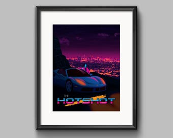 The Hotshot Art Print - synthwave, vaporwave, retrowave, outrun, 80s, retro, portrait, neon, ferrari, los angeles