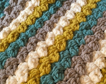 Crochet Thick Stripe Afghan Blanket - Pick your colors