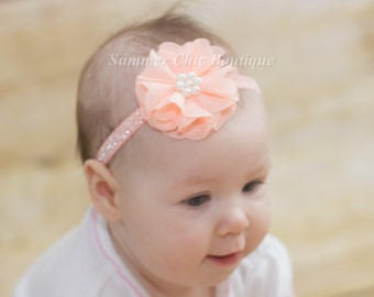 Peach Baby Headband, Baby Headband, Newborn Headband, Infant Headband, Toddler Headband, Girl Headband, Peach chiffon Baby Headband