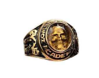 Zombie  Combat Academy Graduation  Skull Ring SIZE 9 Smoke Grey stone