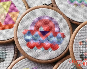 Cross stitch pattern PDF download - easy geometric sunset - modern cross stitch pattern to download instantly - By the Seaside