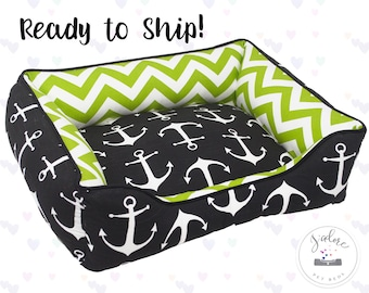 Small Black & Green Dog Bed or Cat Bed | Chevron, Anchor, Nautical, Boy, Masculine | Washable, Ready to Ship!