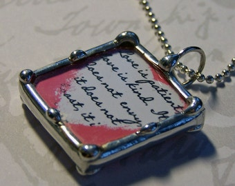 Soldered Art Charm, Glass Pendant, Christian Scripture Jewelry, Spiritual Words Necklace, Wedding Charm, Custom Made To Order