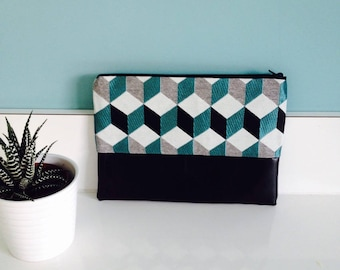 Large pouch in blue and black geometric pattern