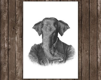 elephant art - elephant portrait illustration - animal print, elephant in clothes wall art