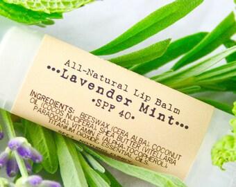 SPF Lavender Mint Shea Butter Lip Balm / Organic Lip Balm / Natural Lip Balm / Handmade Lip Balm / Essential Oils / Natural Skin Care