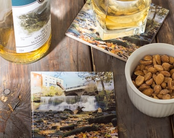 Chagrin Falls Waterfall Coasters // Home Decor// Set of 4 Ceramic// Chagrin Falls Photography//Valentine's Day