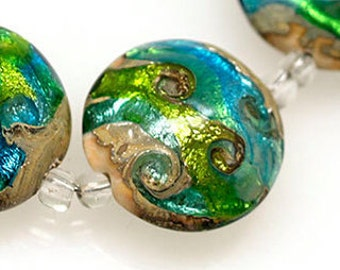 Green and blue 18mm lentil lampwork glass beads SRA set of 1 glass beads MTO Lampwork Beads glass beads lentil beads