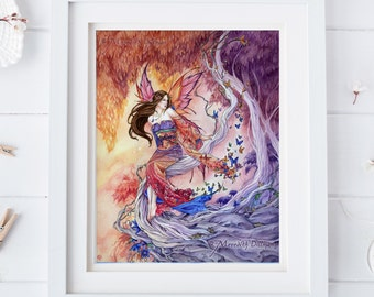 Kimono Fairy Art, butterflies, Enchanted Forest, Fairyland, Japanese kimono dress,  8x10 print, red and purple