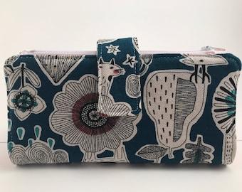 Dave Ramsey Style Cash Envelope System Wallet (Teal Doodles & Coral) 4 zipper