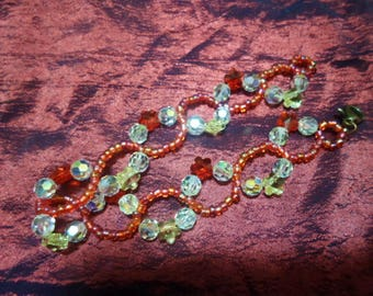 Bracelet colors of fire and Crystal flowers
