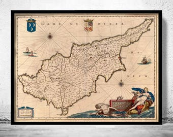 Old Map of Cyprus 1650 Vintage Map