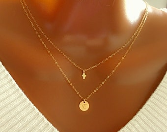 20% off Layered tiny cross and disc necklace, All 14K gold filled, personalized necklace, personalized letter, personalized gift