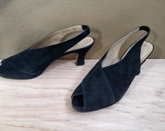 NINA Nina Ricci Vintage Black Suede Peep-Toe Platform Retro Pin-up Pumps Shoes..7.5 M..Slingback..Flare Heels