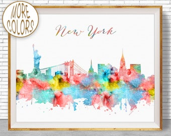New York Print New York Skyline New York Poster New York Art Print City Skyline Prints Office Wall Art Office Poster ArtPrintZone