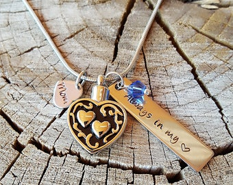 Vintage Double Heart Urn Necklace, Custom Hand Stamp Cremation Jewelry, Always In My Heart with Swarovski Birthstone
