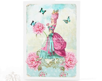 Marie Antoinette card with pink flowers and butterflies, birthday card, card for her, all occasion card