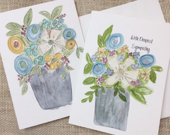 Floral Watercolor Greeting Cards, Hand Painted Cards, Watercolor and Ink, Original Birthday Card, Sympathy Card, Wedding Card, Custom Card,