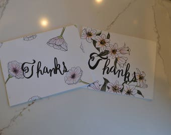 Floral 'Thanks' Cards - Set of 2