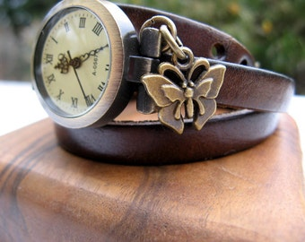 Sale - Wrap Around Chocolate Brown Leather Wrap Watch - Leather Bronze Wrist Watch - Butterfly Charm - Watch