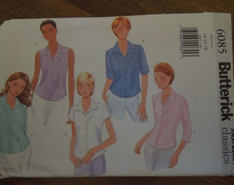 Butterick 6085, sizes 14-18, UNCUT sewing pattern, craft supplies, blouses, tops, womens