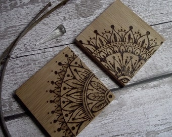 Wood coasters, pyrography coasters, mandala coasters, wood burned coasters, wood drink mats, mandala drink mats, rustic coasters, coasters,