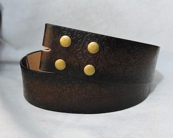 Customizable 2.25 inch, Filigree Design Leather Pirate, or Kilt Belt