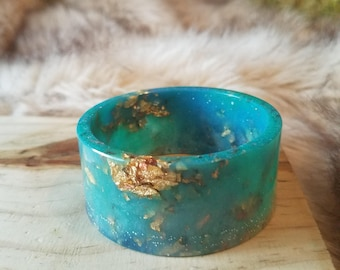 Turquoise Blue Resin Cuff Bangle