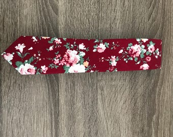Red tie with pink w/ green floral print 6cm skinny tie