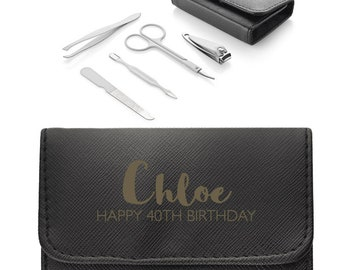 Personalised ENGRAVED 40th birthday manicure set travel kit, Black leather pu manicure case, 5 piece kit, nail clippers, tweezers - MAN-40