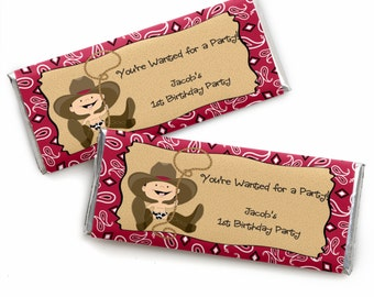 24 Little Cowboy - Western Custom Candy Bar Wrappers - Personalized Baby Shower and Birthday Party Favors