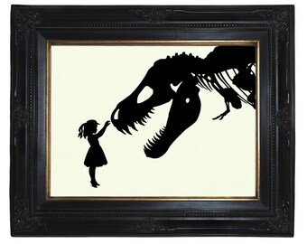 Girl Dinosaur T-Rex Art Print Nursery Silhouette pet skeleton art print tyrannosaurus Victorian Steampunk Bones