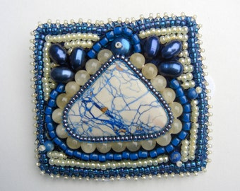 Pearl, Aragonite, and Spiderweb Azurite Blue and Pale Yellow Brooch Pin