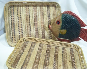 Woven Rattan Serving Trays Bamboo Tray Vintage Wicker Tray Rattan Tray Woven Trays Tiki Bar Serving Trays Woven Pattern