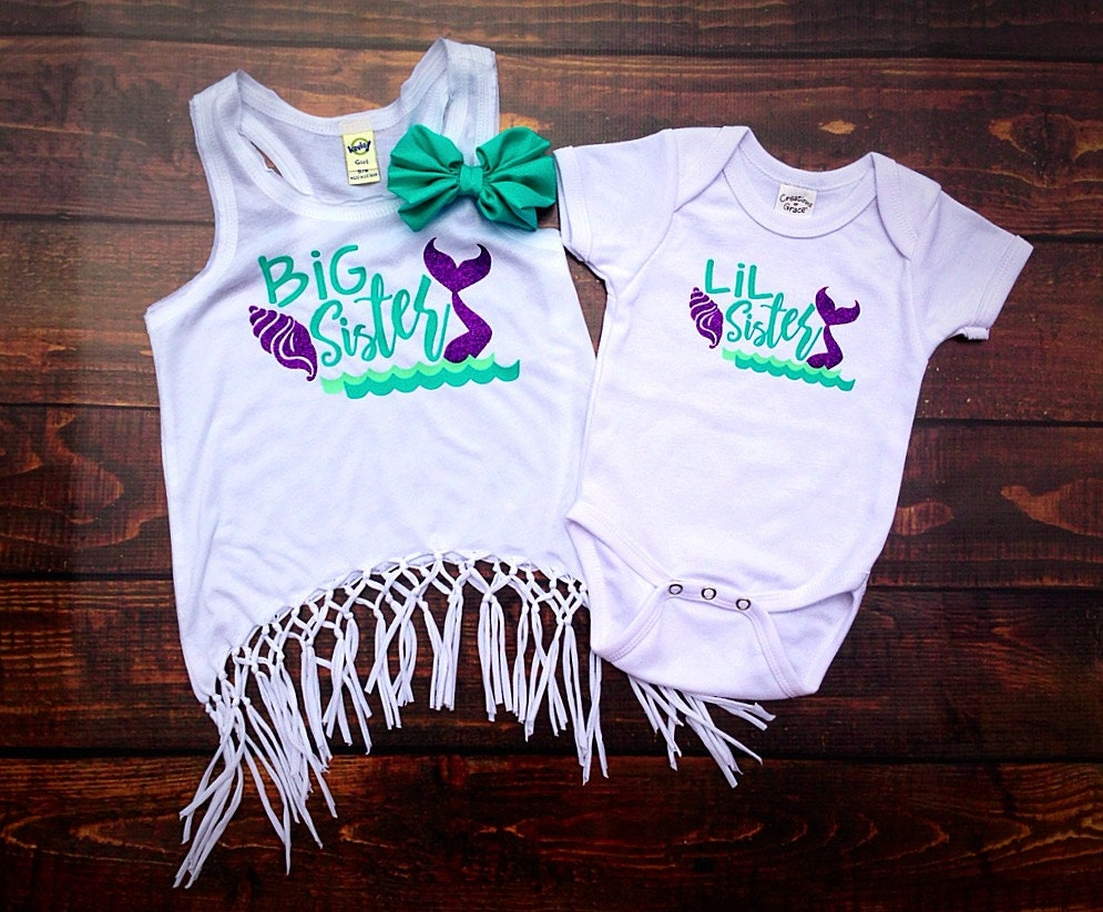 Big Sister Little Sister Shirts Girls matching shirt Mermaid