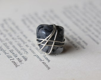 Tourmaline Quartz Sterling Silver Wire Wrapped Ring