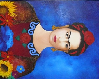 Blue flowers sunflowers original canvas oil painting Frida-red rose