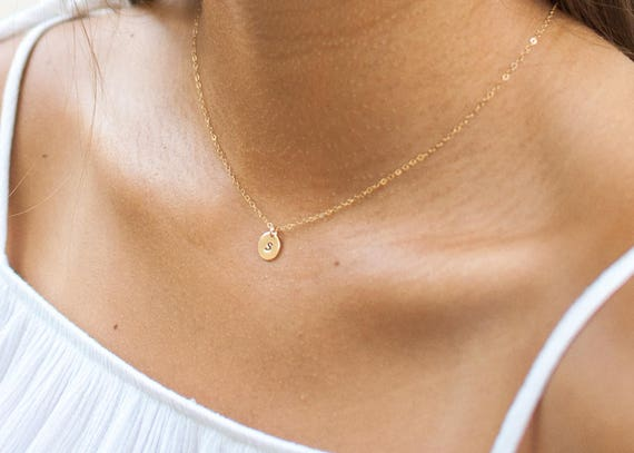 Delicate Initial Necklace Gold | Name Necklace | Letter Necklace | Gift For Mom | Gift For Her | Layering Necklace | Mothers Day Gift