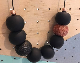 Matte Black and Copper Clay Necklace