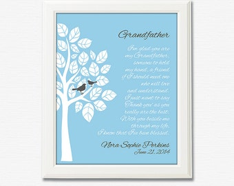 Grandfather gift wall art print -UNFRAMED- Tree, birds, personalized grandfather gift print, gift for grandpa, father's day gift