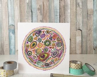 Spring mandala card - spring card - seasonal card - mandala card - square greetings card - blank greetings card
