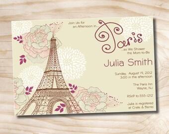 AFTERNOON IN PARIS Parisian Baby Shower Invitation / Bridal Shower Invitation - Printable Digital file or Printed Invitations